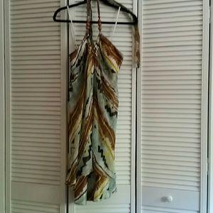 Ethnic print satin and chiffon halter dress
